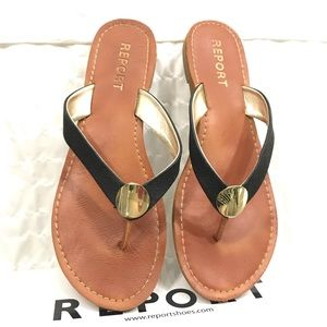 Brown & Black Leather Good Accent Sandals